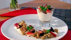 Mousse de chocolate blanco con crumble de almendra - Presentación