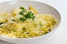 Spaghetti Squash - 1 large squash, 1/4 cup of freshly grated Parmesan Cheese, 3 tablespoons of fresh chopped parsley, 2 tablespoons of soft butter, and a pinch of salt and cracked black pepper.