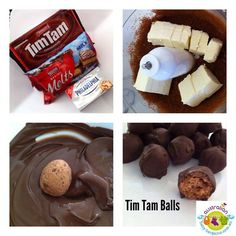 TIM TAM BALLS!!  Ingredients (makes 22 large) 1 x Packet Tim Tams 1 x 250gm Block Philadelphia Cream Cheese 1 x 375gm Cooking Choc (Milk/Dark)   Method: 1: Crush the Tim Tams, add softened cream cheese and mix thoroughly (I used a food processor, but by hand works fine)  2: Roll into balls. (1 teaspoon of mix)  3: Roll balls in melted chocolate and refrigerate until set.