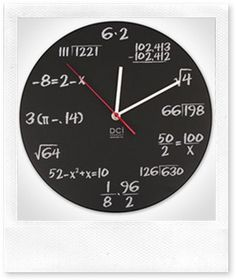 maths pop quiz clock  http://pinaywifeatbp.blogspot.com/2010/11/that-totally-geeky-wall-clock.html#