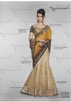 Nakkashi Exclusive mustard yellow Coloured Fancy Designer Saree