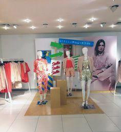 Stella McCartney at C & A,design by Vimer, pinned by Ton van der Veer Text On Photo, Store Displays, Visual Merchandising, Stella Mccartney, Van, Layout, Windows, Shop, Design