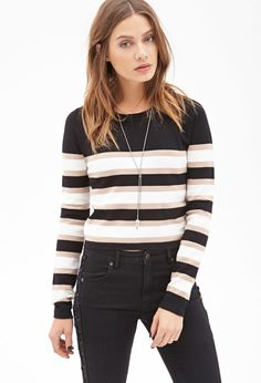 Find your favorite sweater & cardigan styles at Forever Cozy up in our oversized knits with classic crochet cardigans, ribbed sweater dresses, velvet sweatshirts, chenille tops & more! Boxy Crop Top, Striped Crop Top, Sweater Sale, Cropped Sweater, Sweaters For Women, Sweaters 2014, Knitwear, Forever21, Fashion Trends