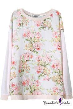 1b59dd96a Beige Floral Plants Print Round Neck Long Sleeve Sweater Universo Feminino