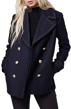 Free shipping and returns on Topshop Contrast Stitch Peacoat at Nordstrom.com. Bold topstitching and polished golden hardware accent the rich navy palette of a peacoat cut in a cozy wool blend.