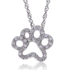 ASPCA® Tender Voices™ 1/10 CT. T.W. Diamond Paw Pendant in Sterling Silver