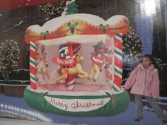 Huge 8 Foot Tall Holiday Inflatable Christmas Carousel Rotating Animated New | eBay