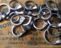 These lucky horseshoe nail rings were handcrafted by me - a blacksmith. These Nail rings are cold forged in their natural silver tone. Horseshoe Nail Art, Lucky Horseshoe, Horseshoe Crafts, Horse Shoe Nails, Vintage Nails, Hipster Looks, Traditional Engagement Rings, Us Nails, Nail Tips