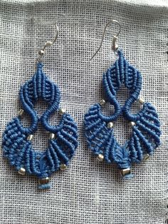 Blue macrame earrings