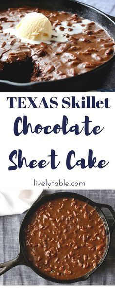Texas Chocolate Sheet Cake Recipe | Classically decadent, AMAZING Texas Chocolate Sheet Cake with a fudgy, pecan-studded chocolate frosting made in a cast iron skillet. | Via livelytable.com @Lively Table