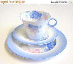 Gorgeous Art Deco Shelley China Tea Trio, Blue Phlox, Regent Shaped Cup, Ring Handle