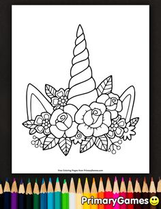 Free printable Unicorns Coloring Pages eBook for use in your classroom or home from PrimaryGames. Print and color this Unicorn Horn And Flowers coloring Unicorns Coloring Pages eBook: Unicorn Horn And Flowers Printable Flower Coloring Pages, Preschool Coloring Pages, Unicorn Coloring Pages, Coloring Pages For Girls, Free Coloring Pages, Coloring For Kids, Coloring Books, Adult Coloring, Flower Colouring Pages