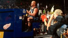 """""""Stone Cold"""" Steve Austin drives a Zamboni to the ring (Sept. Corey Graves, Stone Cold Steve, Steve Austin, Wwe News, Wwe Superstars, New Day, All About Time, Social Media, Entertaining"""