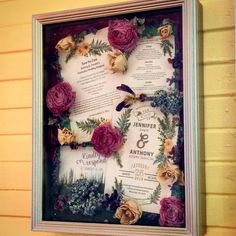 I used a save the date, wedding invitation, RSVP card, and dried flowers and ribbon from my bridal bouquet and made this shadow box!