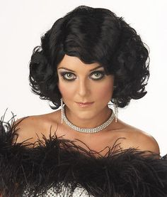 f4c1d90ec Short Wavy Black Bob Cabaret Showgirl Saloon Can Can Girl Costume Wig