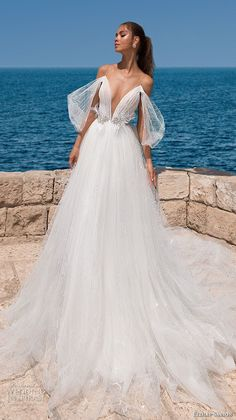 elihav sasson 2018 capsule bridal off shoulder illusion strap deep plunging v neck ruched bodice romantic a line wedding dress chapel train (13) mv -- Elihav Sasson 2018 Royalty Girl Capsule Collection #luxuryfashion