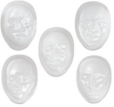 """Multi-Cultural Face Forms, Pkg of 10.  Multi-Cultural Face Forms are designed for papier maché and clay. The easy release molds are made from see through plastic.  Five ethnically diverse characters are available, each beautifully realistic. Face forms measure up to 5½"""" × 7"""" (14 cm × 18 cm). Make a mask or design a self portrait. Package of 10."""