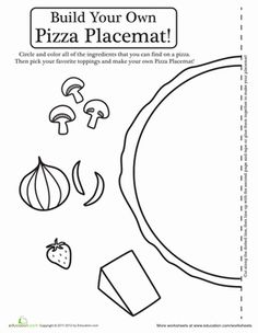 Preschool Paper Projects Worksheets: Pizza Activity Placemat