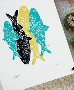 "The Smell of the Sea - Art Print by Bespoke Press from ""Impressive: Printmaking, Letterpress and Graphic Design"" published by #gestalten  ( http://shop.gestalten.com/impressive-softcover.html) #print #letterpress #graphic #paper #art"