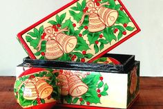 Vintage Lacquered Wood Christmas Ornament Box Set, Decorative Box, Holiday Décor, Gift Set  Vintage Painted & Lacquered Wood Set of 2 Christmas