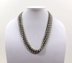 Multistrand Faux Pearl and Chain Necklace by KatsCache on Etsy