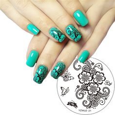 ZKO 1 Pc Hand-painted Butterfly Flower Original Designs Nail Art Stamp Stamping Plates Template Image Plate Stencil for Nails