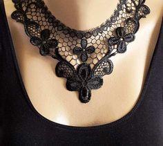 Black lace collar collar necklaces Vintage Lace by selenayselenay, $29.00