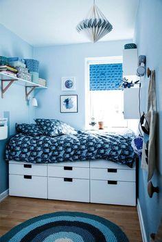 Før & efter: Småt & sejt drengeværelse - Se værelset her - ALT. Small Room Bedroom, Small Rooms, Home Decor Bedroom, Kids Bedroom, Decor Room, Bedroom Ideas, Cool Teen Bedrooms, Trendy Bedroom, Teenage Room
