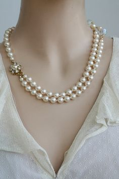 Bridal Set- Necklace and Earrings, Vintage,Victorian Bridal Jewelry, Wedding Necklace,Swarovski Crystals Necklace,Ivory Pearls,Gold Earrings. $129.00, via Etsy.