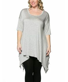 Another great find on #zulily! Heather Gray Handkerchief Tunic - Plus by Celeste #zulilyfinds