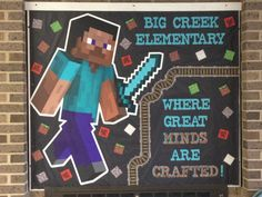where great minds are crafted Minecraft Classroom, Library Bulletin Boards, School Classroom, Classroom Decor Themes, Classroom Design, Classroom Ideas, Board Game Themes, School Computers, Reading