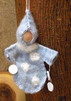Waldorf Doll Ornament, Waldorf Hanging Doll, Waldorf Decoration, Snow, Winter, Snow Child, blue.