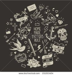 Old school tattoo vector elements. Cartoon tattoos  in funny style: anchor, dagger, skull, flower, star, heart, diamond, scull and swallow  ...