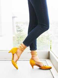 Andra Kitten Heel | Ankle strap lace up heels with a pointed toe and a kitten heel. *By Jeffrey Campbell + Free People