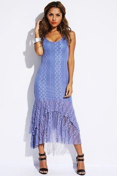 Blue Lace Ruffled High Low Maxi Dress Small Medium Large Choose Your Size   eBay