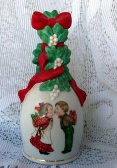 Vintage Porcelain Avon Christmas Bell Kissing by azsunshine51, $6.00