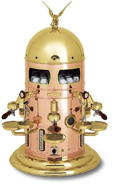 Awesome steampunk coffee machine. I remember this machine in the coffee shops in Italy. Some of them still have it.