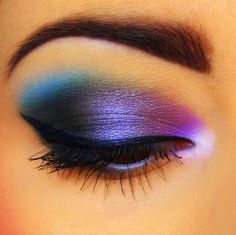 EYE MAKEUP LOOK: Pink|Purple|Blue Shadows + with Matte Charcoal-Black on Corners of Upper Lids!