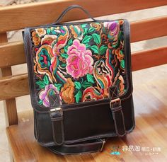 2012 women designer bag Cowskin lady's backpack with 100% Chinese hand stiched flowers FREE SHIPPING!