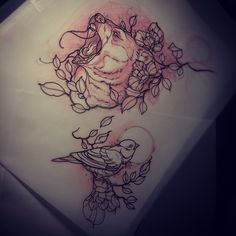 Dean Kalcoff  - bear and bird tattoo sketches