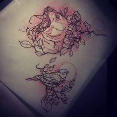 Dean Kalcoff  - bear and bird tattoo sketches