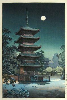 Asakusa Kinryusan (Five-story Pagoda, Sensoji Temple, Asakusa, Tokyo), woodblock by Tsuchiya Koitsu, 1938 -- See also at: http://www.castlefinearts.com/search_results.php?searchArchives=113&searchByArtist=&pageno=3&recordsPerPage=9