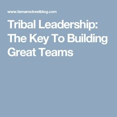 Tribal Leadership: The Key To Building Great Teams