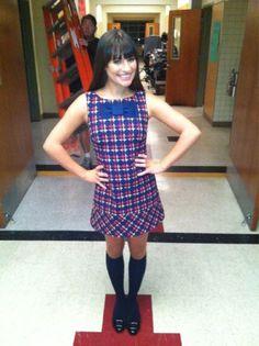 Lea Michele Back on Set Celebuzz! Rachel Berry, Glee Fashion, Fashion Outfits, Lea Michele Glee, Cory Monteith, Office Fashion, Tv, Her Hair, Celebrity Style