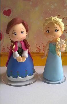 Elsa Frozen em biscuit - Topo de bolo