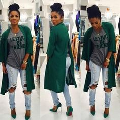 Atrovirens Plain Back Slit Three Quarter Length Sleeve Fashion Cardigan Sweater