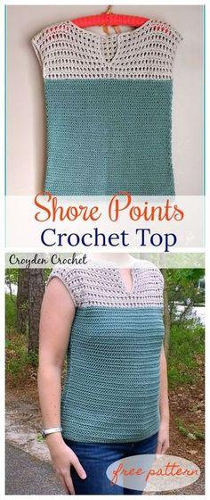 Free crochet pattern for shore point crochet top.