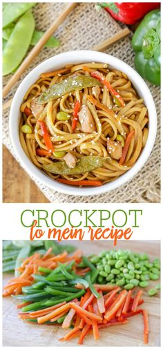 Deliciously saucy Crock Pot Chicken Lo Mein is filled with edamame, snow peas making it an easy favorite dinner recipe. #crockpotlomein #lomein #crockpotdinner #noodles #lomeinrecipe Summer Recipes, Easy Dinner Recipes, Slow Cooker Recipes, Crockpot Recipes, Lo Mein, Snow Peas, Asian Recipes, Ethnic Recipes, Hoisin Sauce