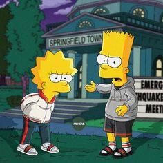 Behind The Scenes By dailystreetwearinspiration Bart E Lisa, Bart And Lisa Simpson, Homer Simpson, Supreme Iphone Wallpaper, Simpson Wallpaper Iphone, Simpsons Characters, Simpsons Art, Swag Cartoon, Cartoon Art