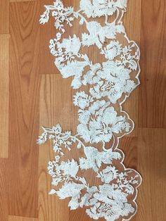 Bridal Wedding Lace Applique in ivory Floral by lacetime on Etsy